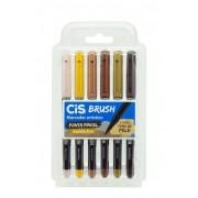 Marcador cis brush tons pastel 1 ponta pincel estojo com 6 cores