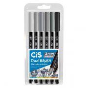 Marcador cis dual brush  tons de cinza estojo com 6 cores