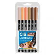 Marcador cis dual brush  tons de pele estojo com 6 cores