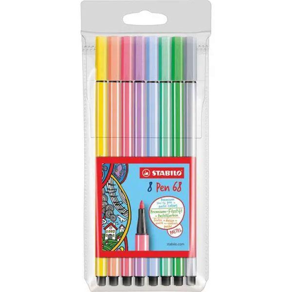Caneta Stabilo Pen Pastel 68/8-01 - estojo com 8 unidades - Stabilo