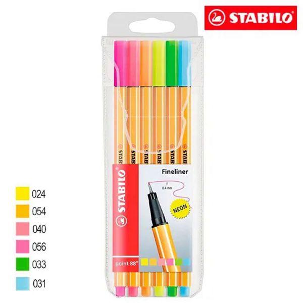 Caneta Stabilo Point  88/6-1 - estojo com 6 unidades - Stabilo