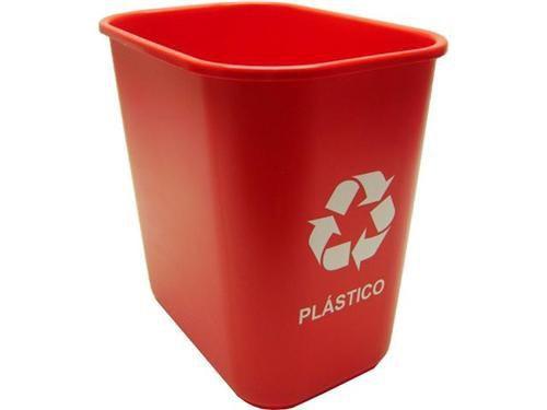 Cesto Acrimet 572.4 retangular 12 litros coleta seletiva cor vermelha para plastico