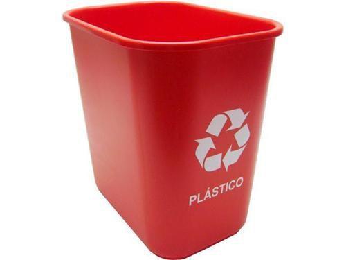 Cesto Acrimet 574.4 retangular coleta seletiva 24 litros cor cor vermelha para plasticos