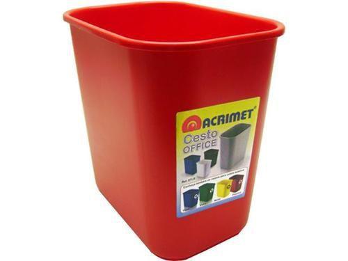 Cesto Acrimet para escritorio 571.8 retangular 12 litros vermelho