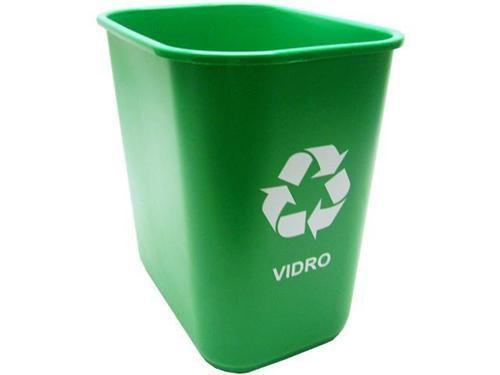 Cesto Acrimet 574 3 retangular coleta seletiva 24 litros cor verde para vidros