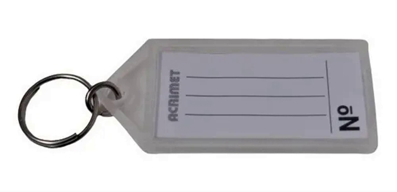 Chaveiro Acrimet 142.5 com etiqueta de identificação  pote com 60 chaveiros cor cristal