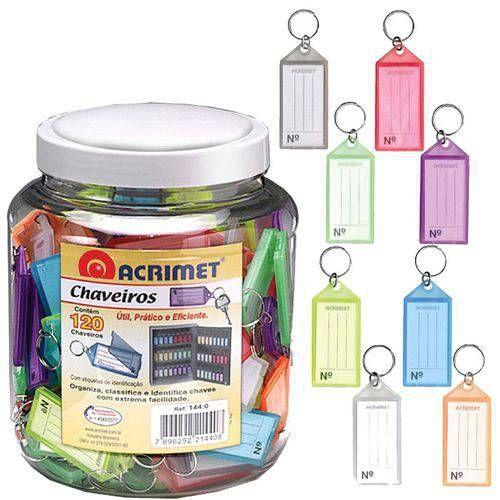 Chaveiro Acrimet 144.9 com etiqueta de identificação pote com 120 chaveiros sortidos