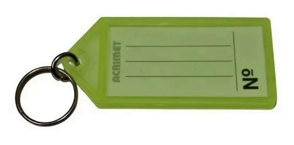 Chaveiro Acrimet 144.1 com etiqueta de identificação pote com 120 chaveiros amarelo neon