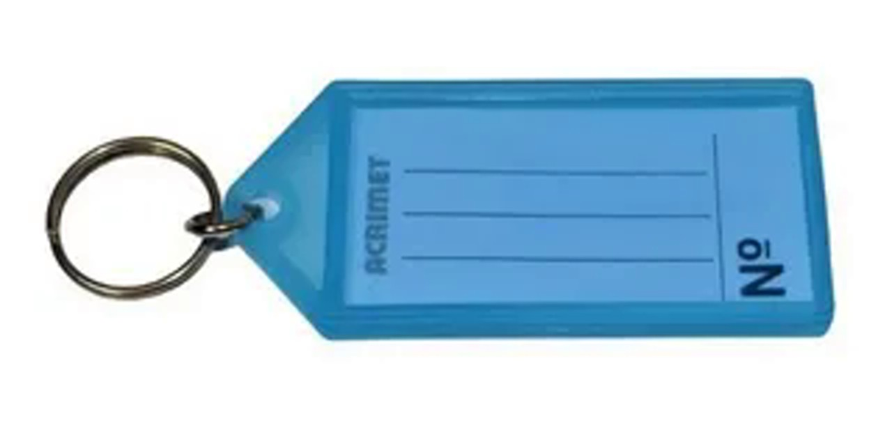 Chaveiro Acrimet 144.2 com etiqueta de identificação pote com 120 chaveiros azul
