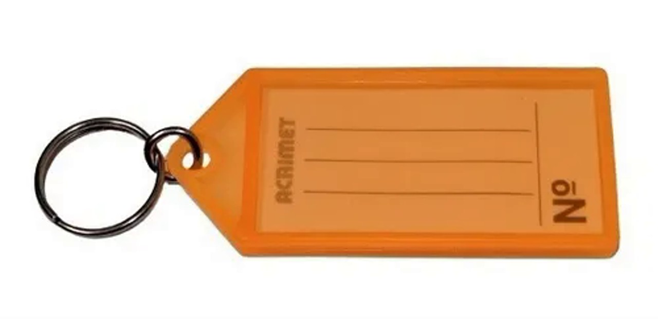 Chaveiro Acrimet 144.3 com etiqueta de identificação pote com 120 chaveiros cenoura neon