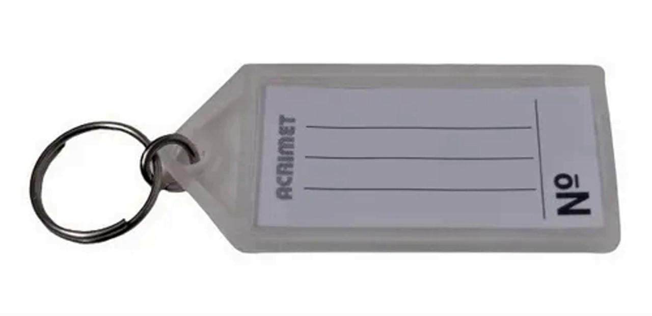 Chaveiro Acrimet 144.5 com etiqueta de identificação pote com 120 chaveiros cristal