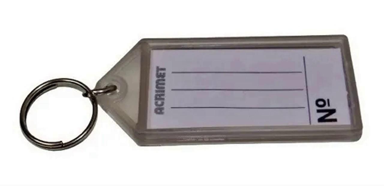 Chaveiro Acrimet 144.6 com etiqueta de identificação pote com 120 chaveiros fumê