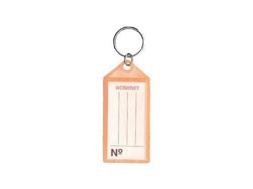 Chaveiro Acrimet 140 plastico com etiqueta de identificação cor laranja