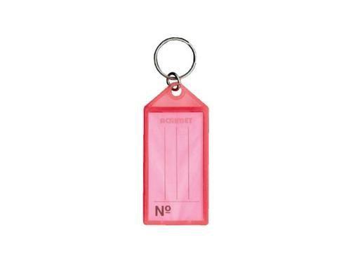 Chaveiro Acrimet 140 plastico com etiqueta de identificação cor rosa neon