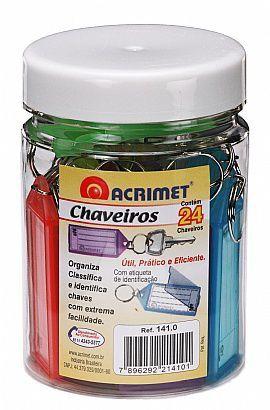 Chaveiro Acrimet 141 0 com etiqueta de identificação pote com 24 chaveiros sortidos