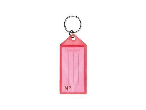 Chaveiro Acrimet 142.0 com etiqueta de identificação  pote com 60 chaveiros cor rosa