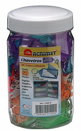 Chaveiro Acrimet 142 3 com etiqueta de identificação caixa com 24 potes pote com 60 chaveiros cores sortidas ou uma so cor  total de 1440 chaveiros