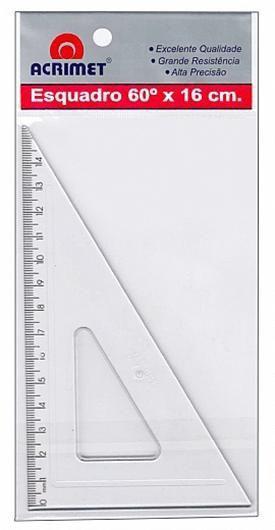Esquadro Acrimet 521 0 escolar de 30 x 60 graus com 16 cm de comprimento