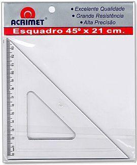 Esquadro Acrimet 532 0 escolar de 45 graus com 21 cm de comprimento