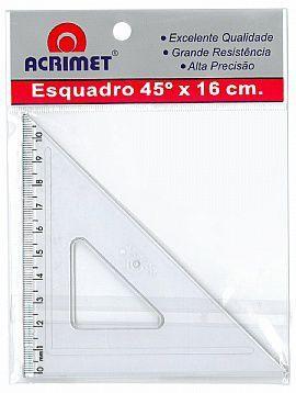 Esquadro Acrimet 522 0 escolar de 45 graus com 16 cm de comprimento
