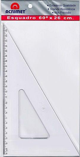 Esquadro Acrimet 541 0 escolar de 30 x 60 graus com 26 cm de comprimento