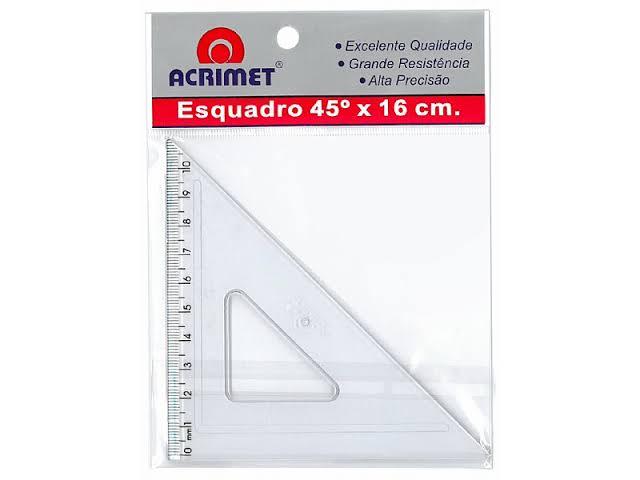 Esquadro Acrimet 542 0 escolar de 45 graus com 26 cm de comprimento
