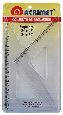 Conjunto Acrimet 567.0 de esquadro escolar de 45 e 60 graus com 21 cm de comprimento
