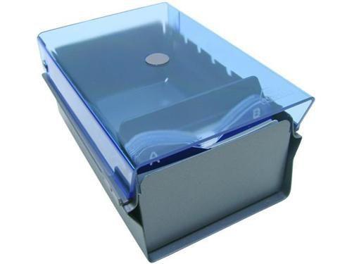Fichario Acrimet 910 2 de mesa para cartao de visita com indice cor azul clear