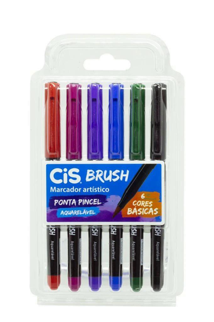 Marcador cis brush 1 ponta pincel cores basicas estojo com 6 cores