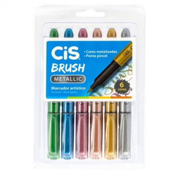 Marcador cis brush  metalic 1 ponta pincel estojo com 6 cores
