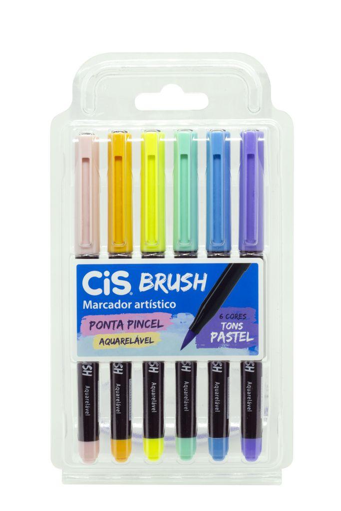 Marcador cis brush tons pastel estojo com 6 cores