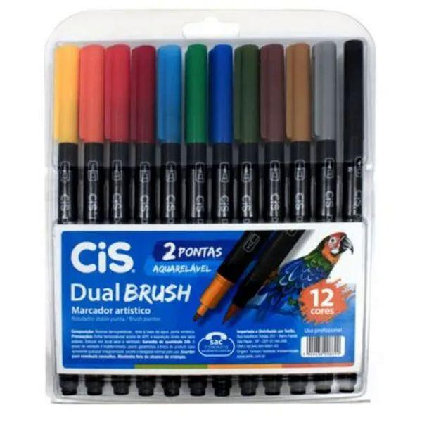 Marcador cis brush  estojo com 12 cores