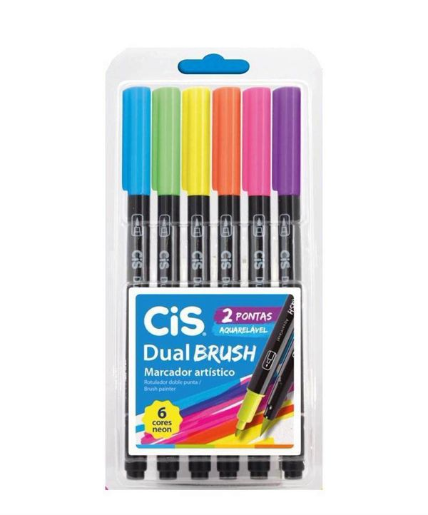Marcador cis dual brush  aquarelavel estojo com 6 cores