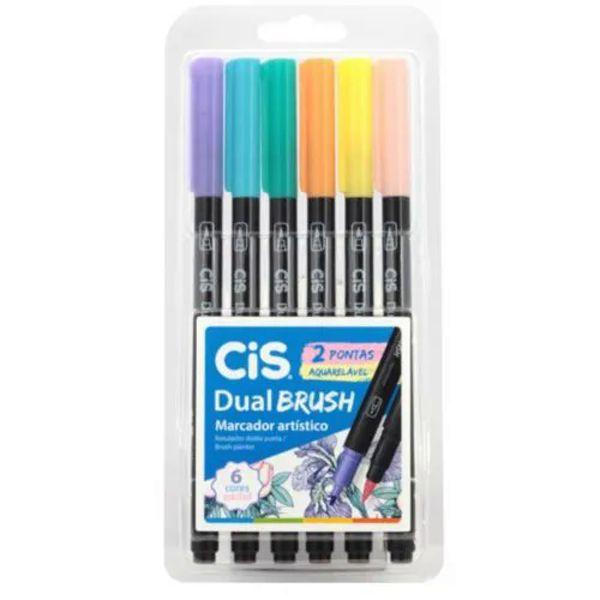 Marcador cis dual brush  tons pastel estojo com 6 cores