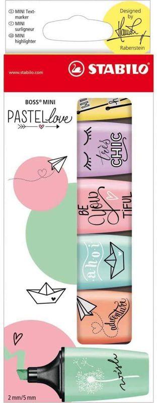 Marcador Stabilo Love Mini pastel 07/06-27 estojo com 6 cores
