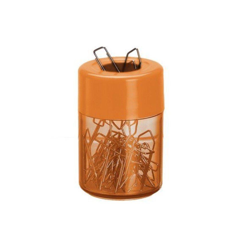 Porta clips magnetico Acrimet 936.LC com corpo laranja clear e tampa laranja citrus