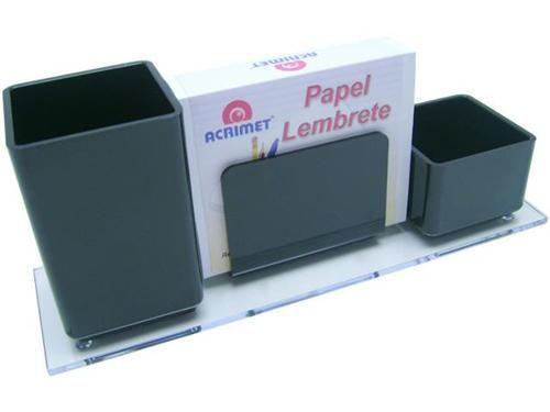 Porta lapis/clips/lembrete preto c/papel 947 4   Acrimet