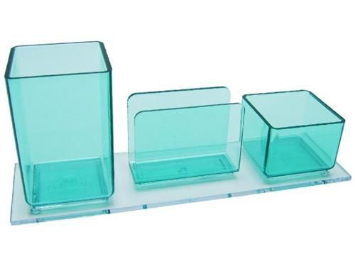 Porta lapis/clips/lembrete verde clear 940.5  Acrimet