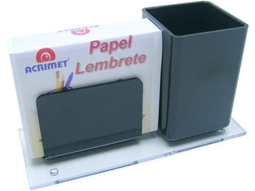 Porta lapis/lembrete preto c/papel 948.4  Acrimet