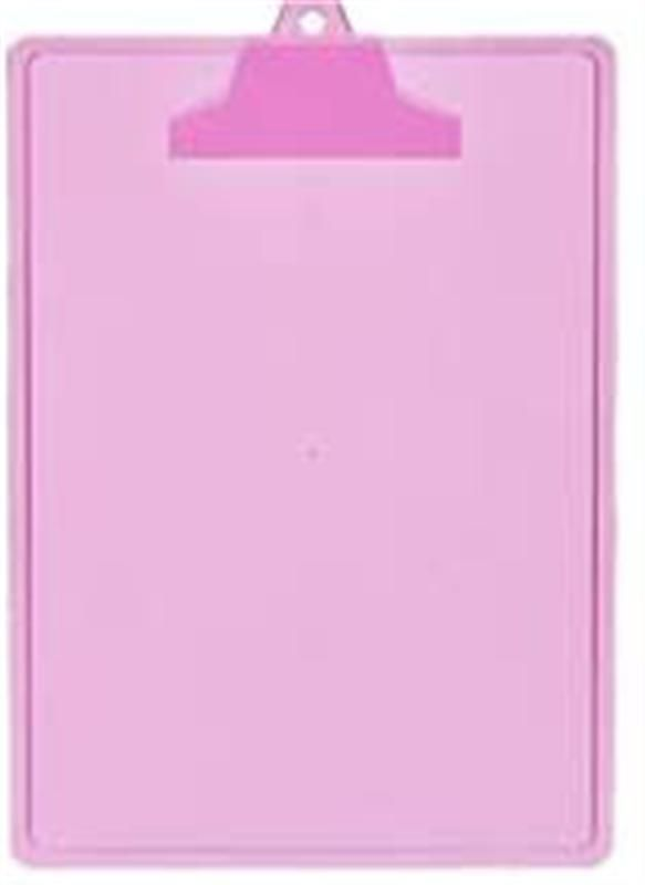 Prancheta Acrimet 131 8 com prendedor plastico  A4 cor rosa
