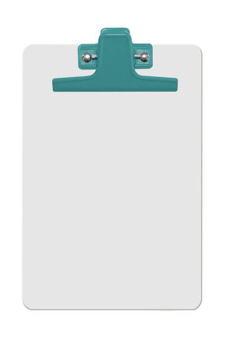Prancheta Acrimet 125 3  mdf branco com prendedor metalico na cor verde meio oficio pequena a5