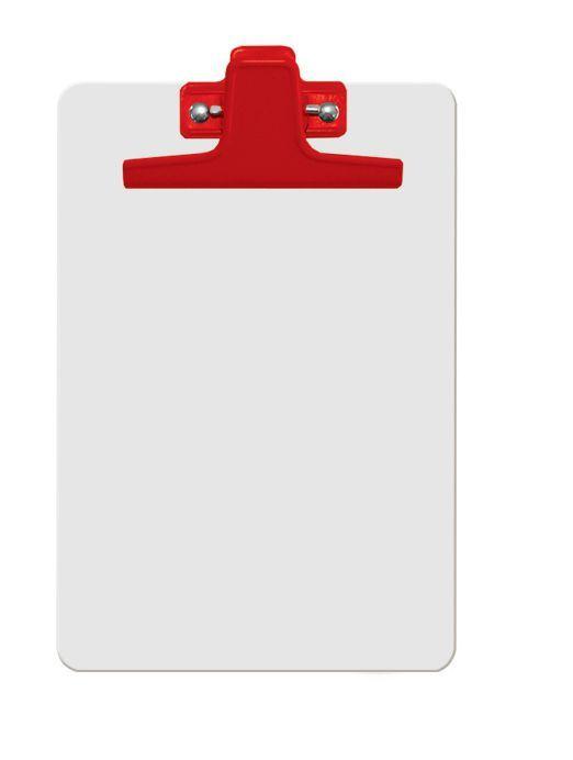 Prancheta Acrimet 125 4  mdf branco com prendedor metalico na cor vermelha meio oficio pequena a5