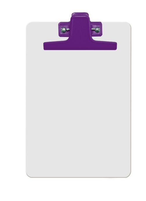 Kit com 12 Prancheta Acrimet 125 5  mdf branco com prendedor metalico na cor roxa meio oficio pequena a5