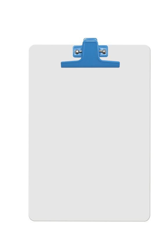 Kit com 12 Prancheta Acrimet 126 2  mdf branco com prendedor metalico na cor azul oficio a4
