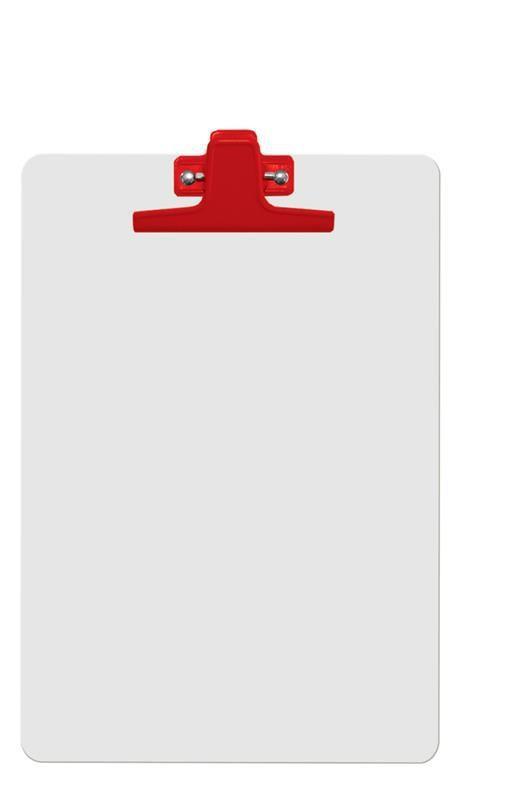 Kit com 12 Prancheta Acrimet 126 4 mdf branco com prendedor metalico na cor vermelha oficio a4