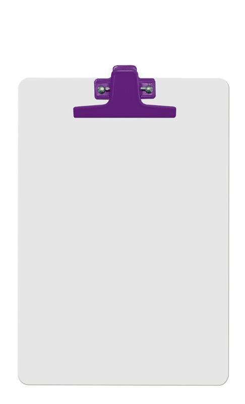 Kit com 12 Prancheta Acrimet 126 5  mdf branco com prendedor metalico na cor roxa oficio a4