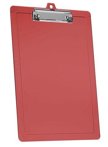 Prancheta Acrimet 134.7 oficio c/réguas laterais e prendedor wire clip cor vermelha clear