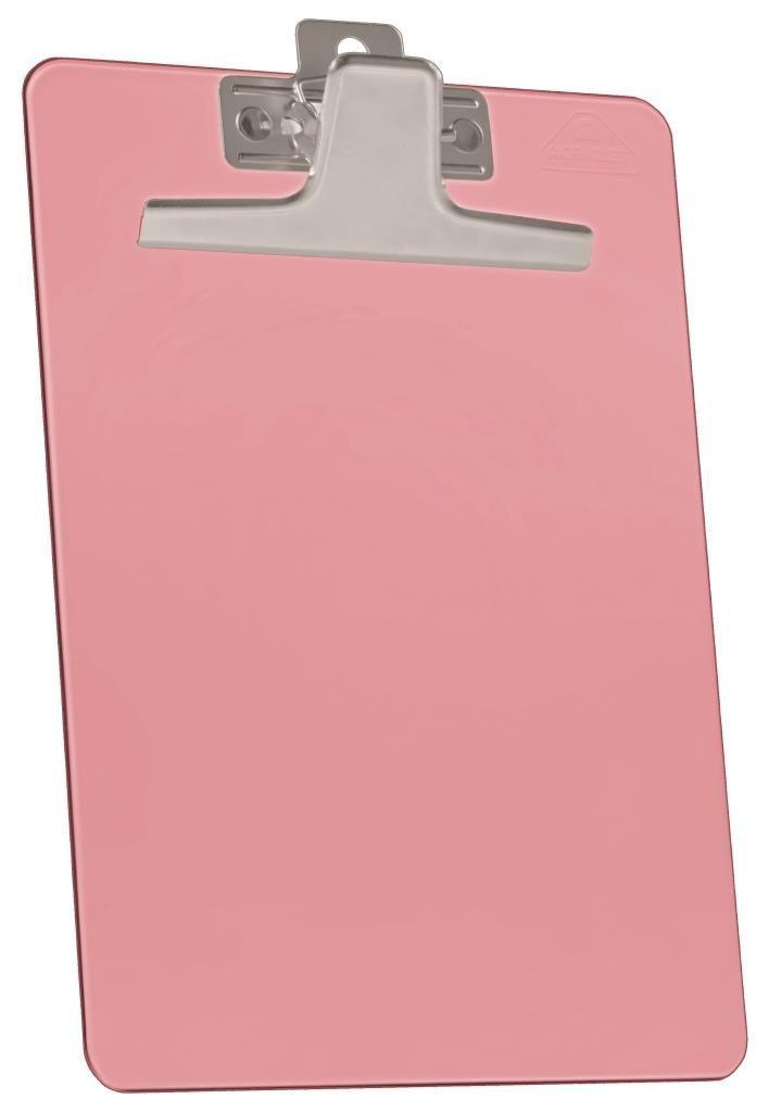 Kit com 12 Prancheta Acrimet 920.6  premium prendedor metalico meio oficio pequena na cor rosa