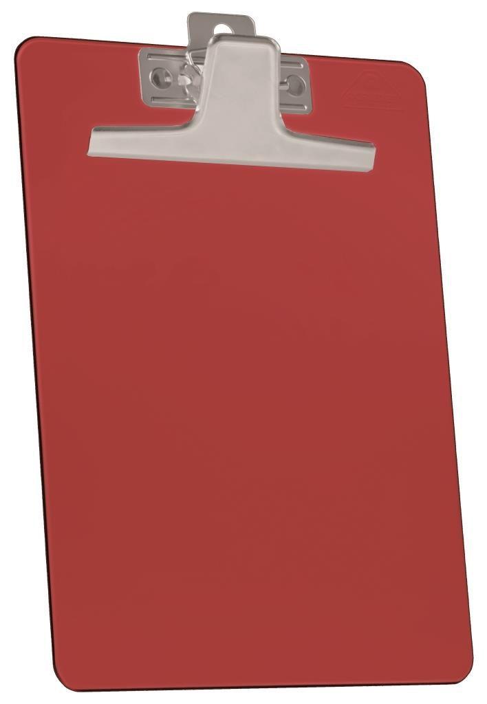 Kit com 12 Prancheta Acrimet 920.7  premium prendedor metalico meio oficio pequena na cor vermelha