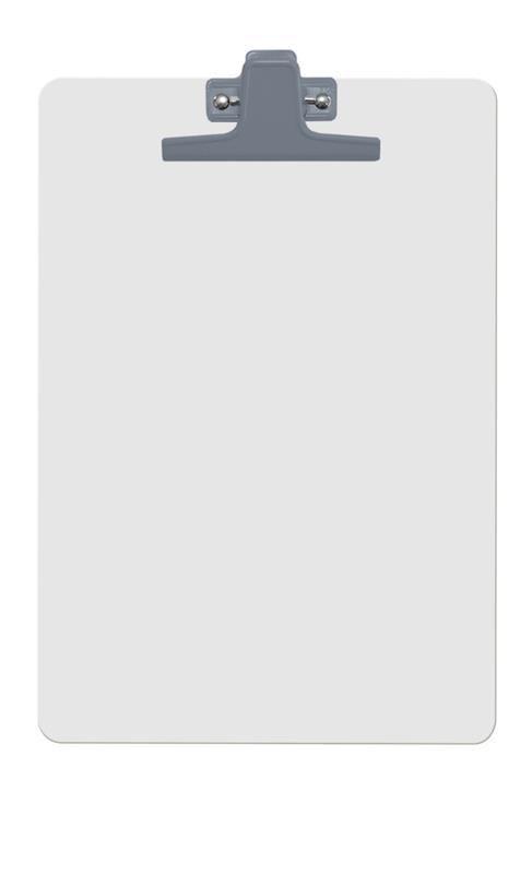 Prancheta Acrimet 126 1  mdf branco com prendedor metalico na cor prata oficio a4 caixa com 12 unidades